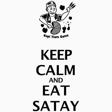 Keep Calm and Eat Satay (black) by afzainizam