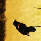 Red-Winged Blackbird Abstract Impressionism by pjwuebker