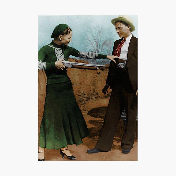 Bonnie & Clyde Colorized Photographic Print