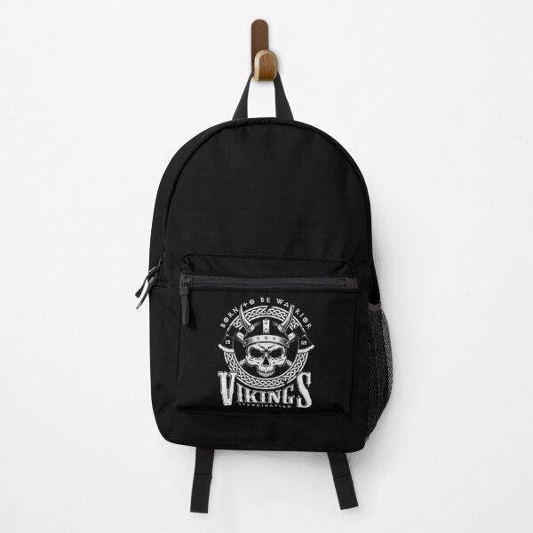 Born to Be Warrior - Skull in Helmet and Axes - Scandinavian Vikings Backpack