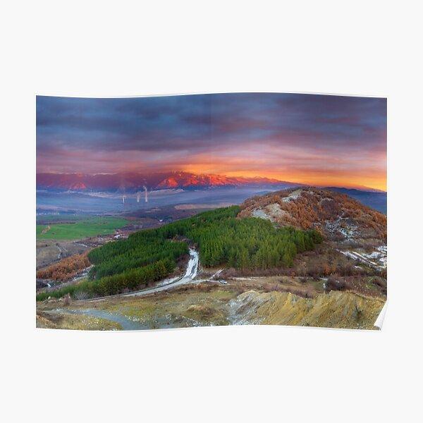 Sunset over Rila Mountain Poster