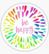 Be Happy Flower Petals Sticker