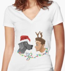 X-mas pups Women's Fitted V-Neck T-Shirt