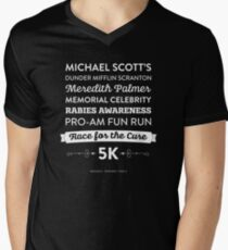 Camiseta para hombre de cuello en v La Oficina - Rabia Awareness Fun Run