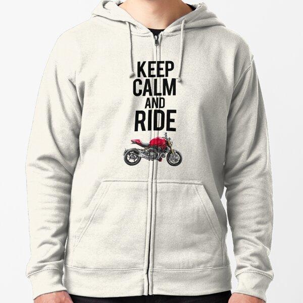 Keep Calm and Ride Ducati Monster Zipped Hoodie