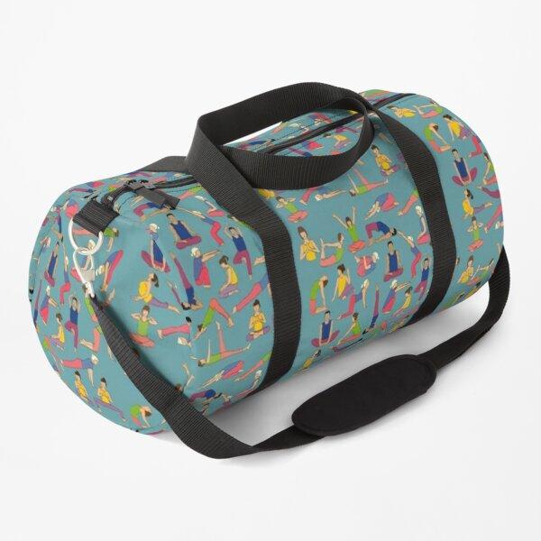 Yoga Poses on blue background Duffle Bag
