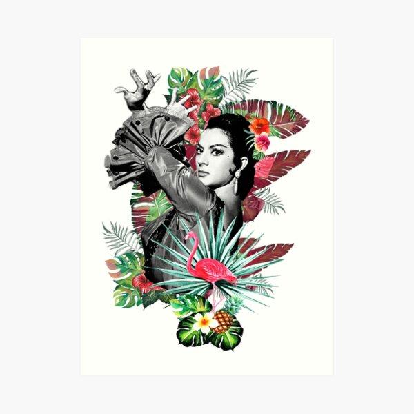 Lola Flores con Flamenco Rosa Lámina artística