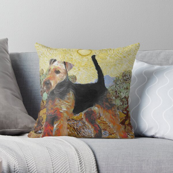 Airedale Terrier Dog Art Van Gogh Olive Trees Throw Pillow