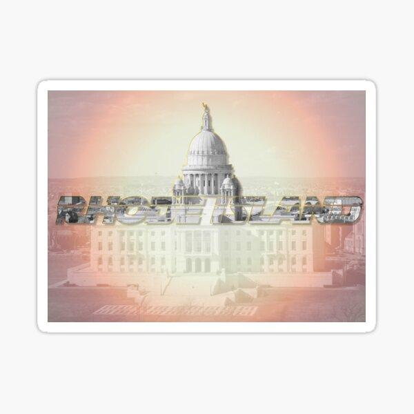 Rhode Island Text Design with Capitol. Sticker