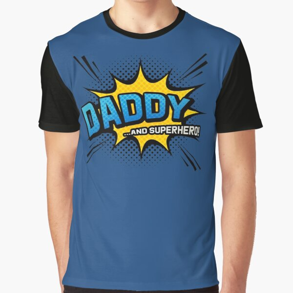 Father's Day Gift - Daddy & Superhero - Navy Comic Book Style Graphic T-Shirt