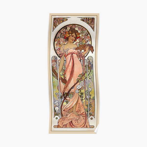 Alphonse Mucha - Woman in Vineyard with Flowers Poster