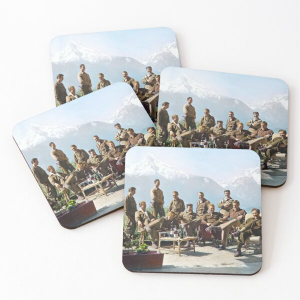 Dick Winters and his Easy Company (HBO's Band of Brothers) lounging at Eagle's Nest, Hitler's former residence in the Bavarian Alps, 1945.  Coasters (Set of 4)