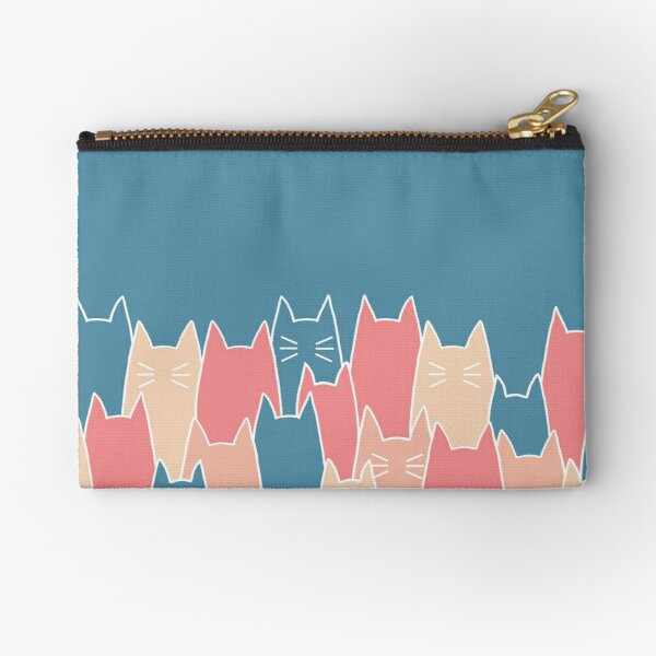 Simple Cat Pattern Blue Zipper Pouch