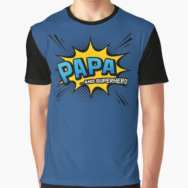 Father's Day Gift - Papa & Superhero - Navy Comic Book Style Graphic T-Shirt