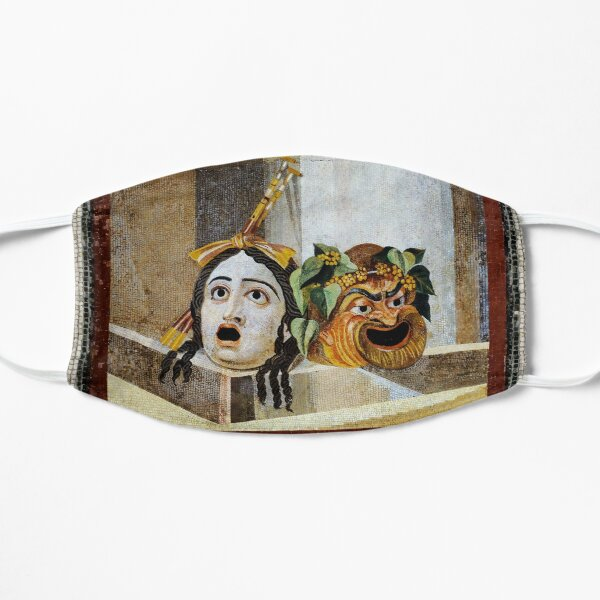 ANTIQUE ROMAN MOSAICS ,GREEK COMEDY THEATER MASKS  Flat Mask