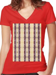 violet and cream stripes Women's Fitted V-Neck T-Shirt