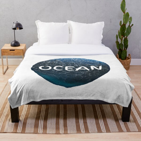 Ocean World and waves with Text Throw Blanket