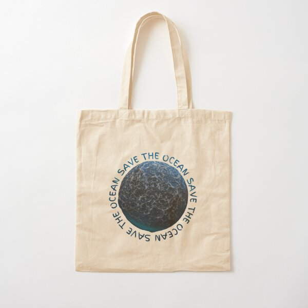 Save the Ocean Text and World Cotton Tote Bag
