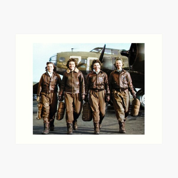 Four female pilots leaving their ship, Pistol Packin' Mama, at the four engine school at Lockbourne AAF. World War II, 1944. Art Print