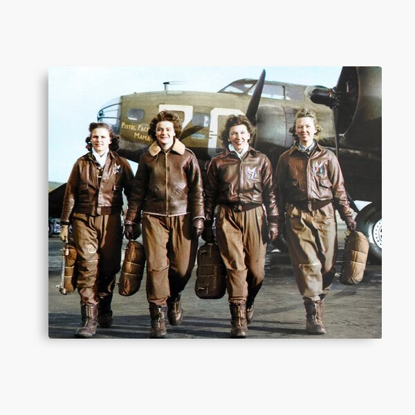 Four female pilots leaving their ship, Pistol Packin' Mama, at the four engine school at Lockbourne AAF. World War II, 1944. Metal Print