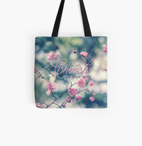 Cherish the Simple Things Pink Plum Blossoms All Over Print Tote Bag
