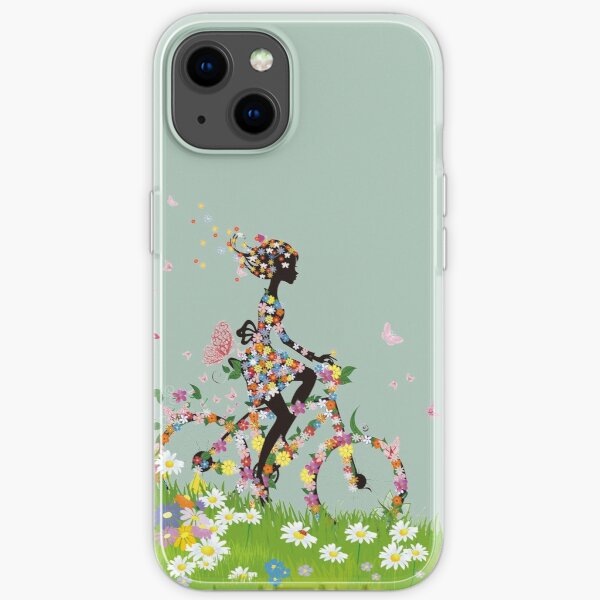 woman riding bicycle with flowers illustration, Bicycle Flower, Colorful spring woman silhouette material iPhone Soft Case