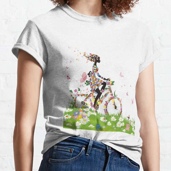 woman riding bicycle with flowers illustration, Bicycle Flower, Colorful spring woman silhouette material Classic T-Shirt