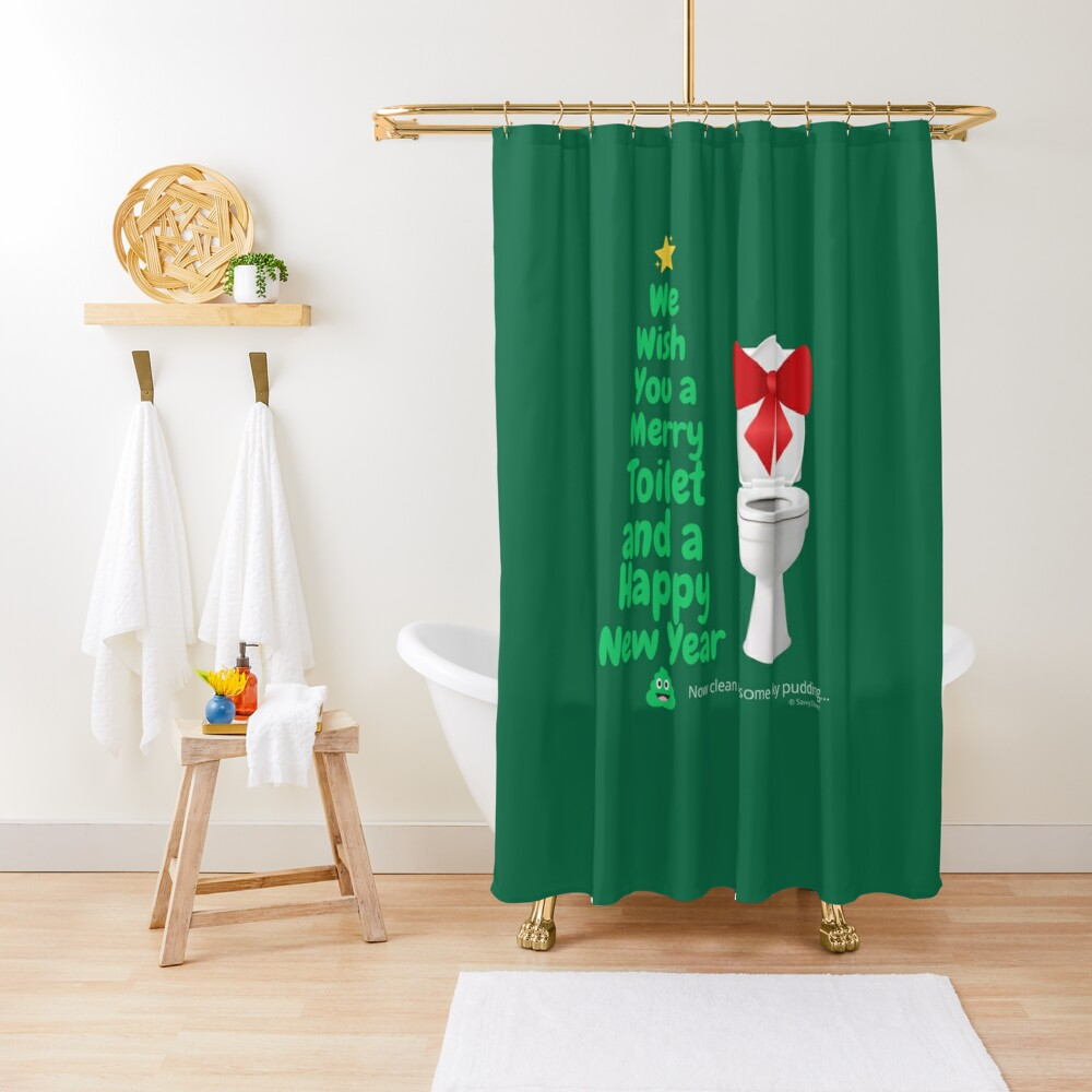 Merry Toilet Fun Cleaning Humor, Women's Gag Gifts Shower Curtain