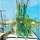 Shrimping Boat Abstract Impressionism by pjwuebker