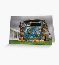 The 'BENCH Jeans' Vw Split Screen custom Van - Head on Greeting Card