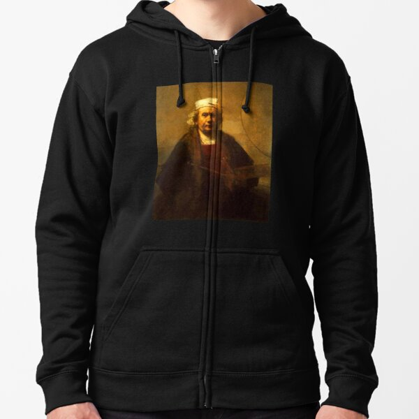 REMBRANDT. Self Portrait. Greatest painter in all of European Art. Zipped Hoodie
