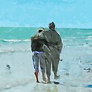 Lovers Walk on the Beach Abstract Impressionism by pjwuebker