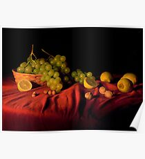 Grape,lemons and nuts Poster