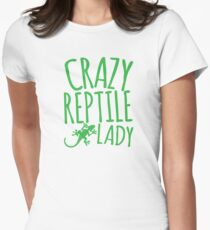 CRAZY REPTILE LADY Women's Fitted T-Shirt