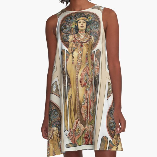 Alphonse Mucha - Elegant Woman A-Line Dress