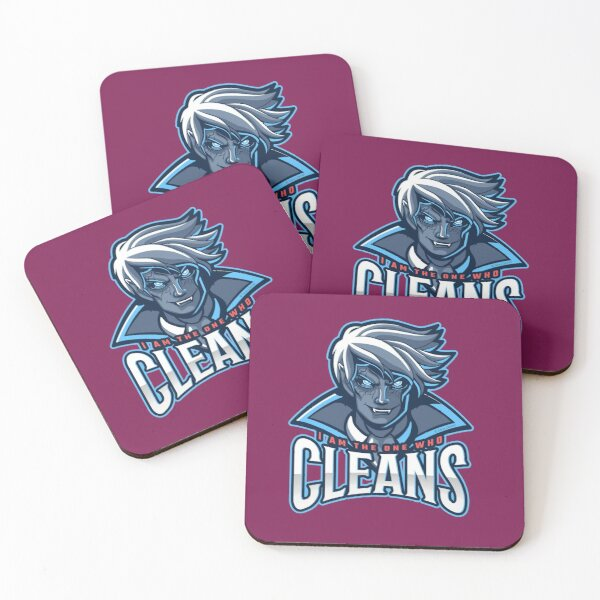 The One Who Cleans, Zombie, Vampire, Cleaning Humor Coasters (Set of 4)