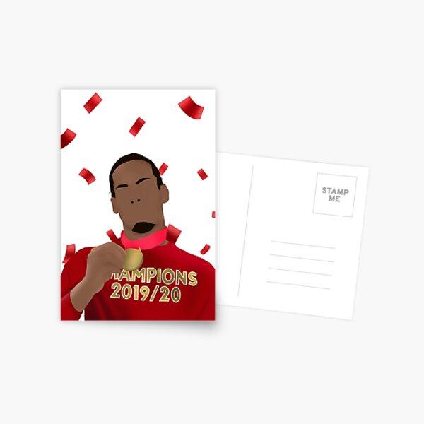Virgil van Dijk Champions Illustration w/ Confetti Postcard