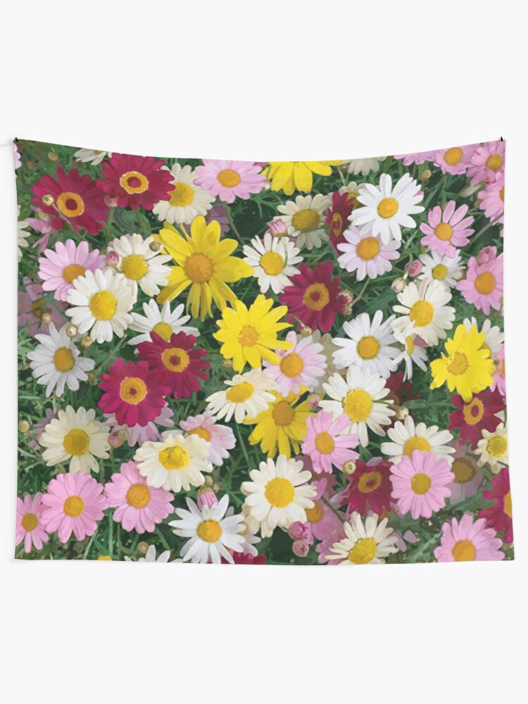 Alternate view of Coloured Daisy Flowers Tapestry