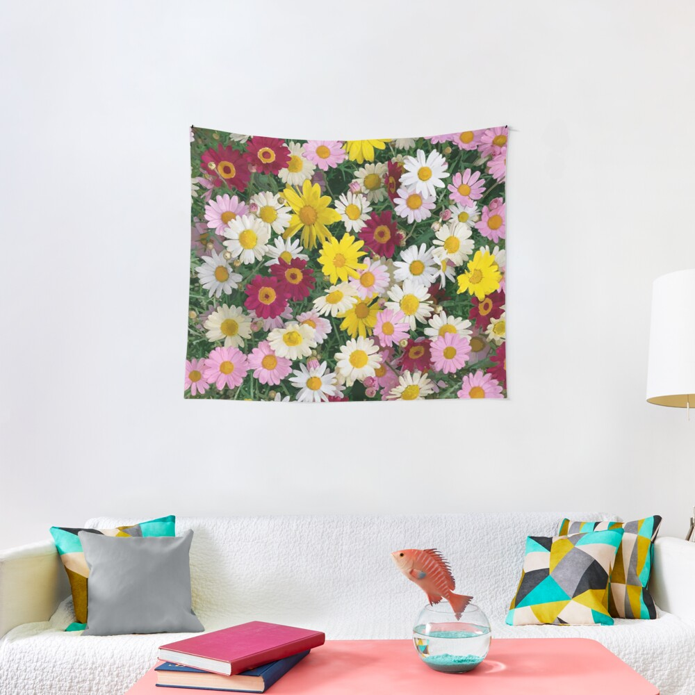 Coloured Daisy Flowers Tapestry