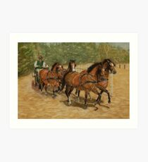 Team Work Four-in-Hand Carriage Driving Art Print