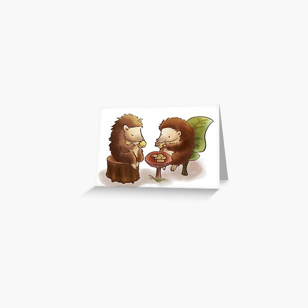 Hedgehog tea party Greeting Card
