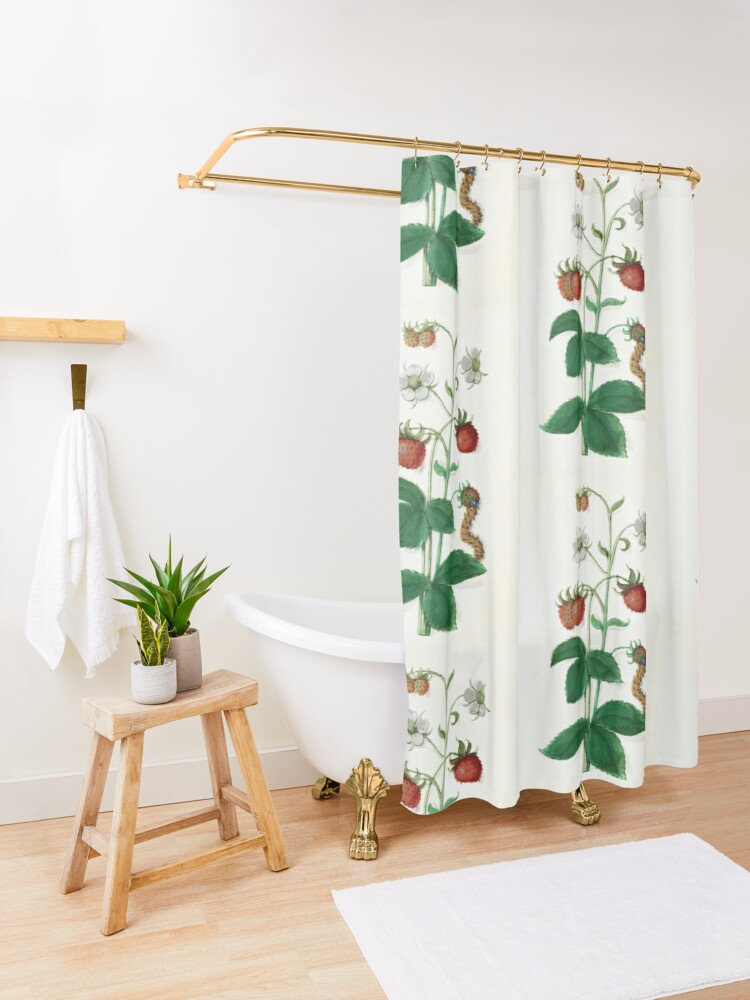 Alternate view of Strawberry plant botanical Shower Curtain
