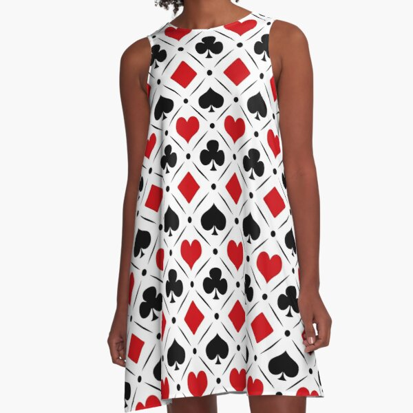 Playing card suits symbols A-Line Dress
