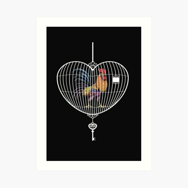 Rooster in a cage dark colour  Art Print
