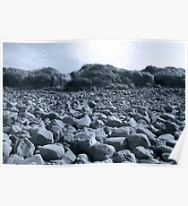 rocky beach in Kerry blue Poster