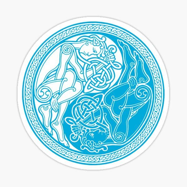 Celtic Yin Yang - blue Sticker