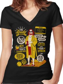 The Dude Quotes Women's Fitted V-Neck T-Shirt