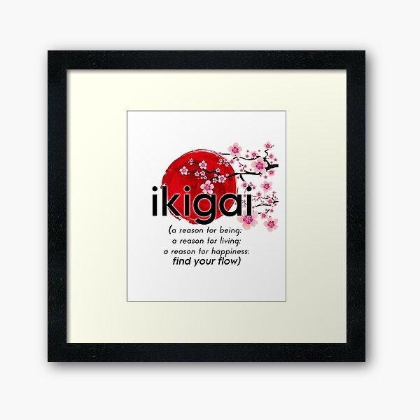 ikigai - Japanese inspiration and motivation - finding your purpose Framed Art Print