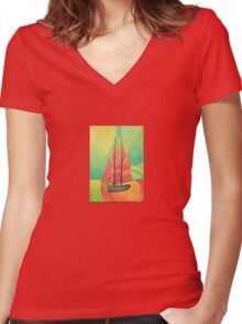 Cubist Abstract Sailing Boat Women's Fitted V-Neck T-Shirt