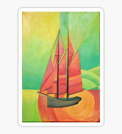 Cubist Abstract Sailing Boat Sticker